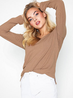 NLY Trend V Neck Rib Top Beige