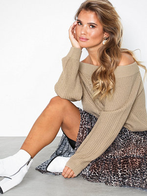 NLY Trend V Neck Puffy Knit Beige