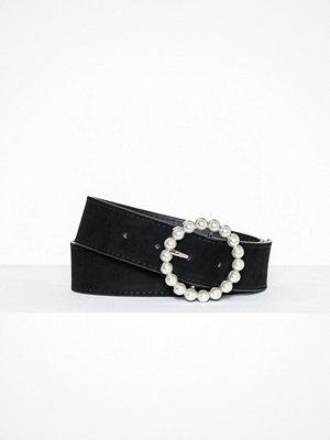 Missguided Pearl Detail Single Ring Belt Silver