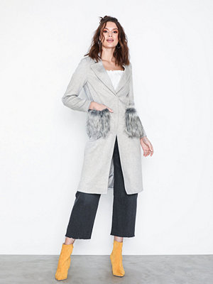 New Look Faux Fur Pocket Longline Coat