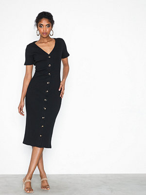 Glamorous Short Sleeve Button Ribbed Dress