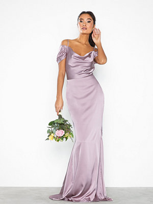 Missguided Satin Off Shoulder Maxi Dress