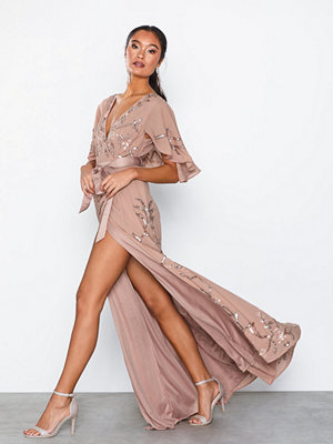 Maya Embellished Wrap Maxi Dress With Flutter Sleeve