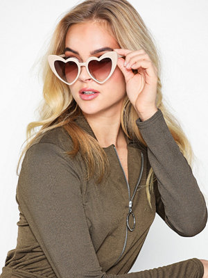 Solglasögon - NLY Accessories Heart Cat Eye Sunglasses Creme