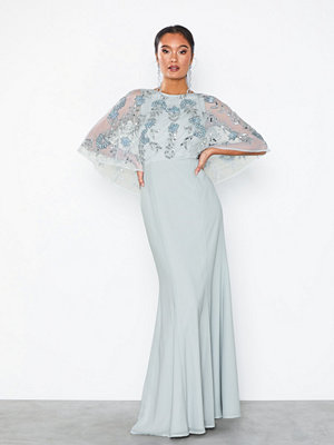 Maya Embellished Cape Detail Maxi Dress Fishtail
