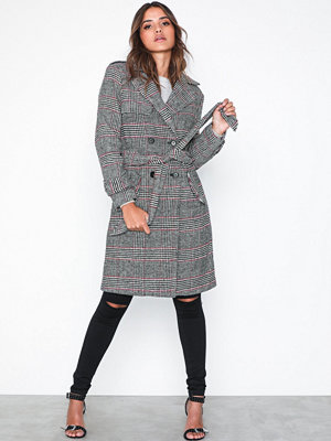 Missguided Check Formal Belted Trench