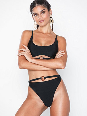 South Beach Black Shimmer Strappy Brief