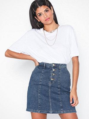 Kjolar - Jacqueline de Yong Jdylola Button Skirt M Blue Dnm