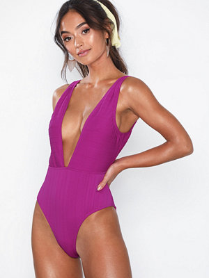 South Beach Magenta Ribbed Swimsuit