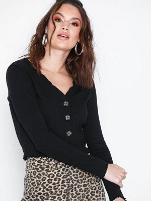 Missguided Button Long Sleeve Crop Top