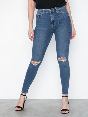 Topshop Mid Blue Ripped Jamie Jeans