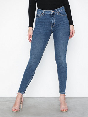Jeans - Topshop Mid Blue One Rip Jamie Jeans