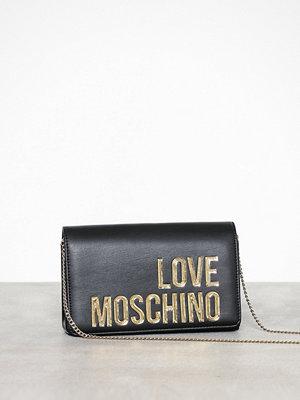 Love Moschino svart axelväska med tryck JC4296PP07KN000A