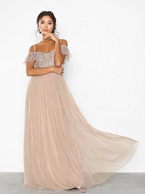 Maya Cold Shoulder Sequin Maxi Dress