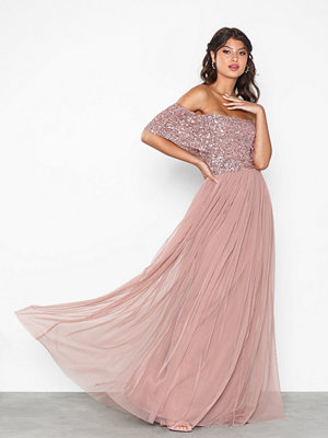 Maya Bardot Delicate Sequin Maxi Dress Mauve