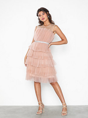 U Collection Flounce Midi Belt Dress