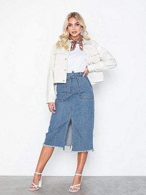 Kjolar - Jacqueline de Yong Jdylouise Long Skirt W. Slit M Blue
