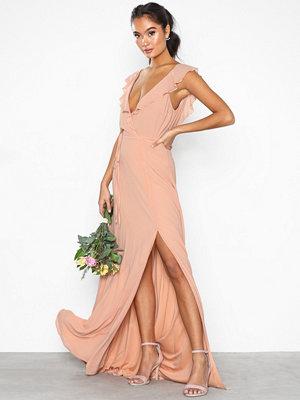 NLY Eve Flowy Flounce Wrap Gown Peach