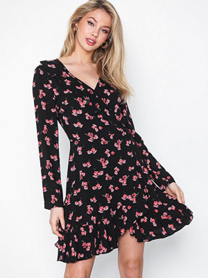 Missguided Floral Wrap Front Dress
