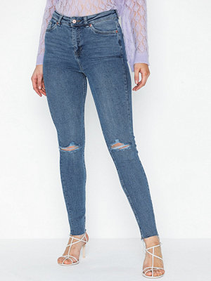 New Look Blue Ripped High Waist Super Skinny Hallie
