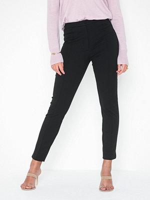 Selected Femme svarta byxor Slfilue Mw Pintuck Slit Pant Black