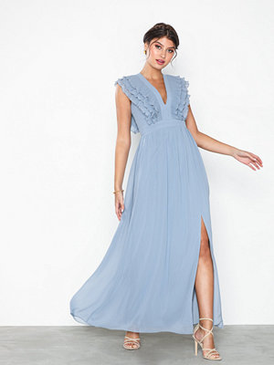 Little Mistress Maxi Pleating Trim Dress