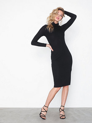 Missguided Ribbed Roll Neck Midi Dress