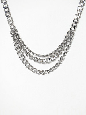 Freedom by Topshop halsband Chain Row Necklace Silver