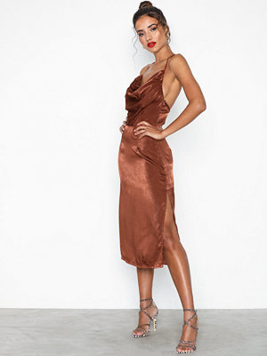 Missguided Cowl Neck Satin Midi Dress