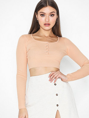Missguided Popper Ribbed Cropped Knitted Top