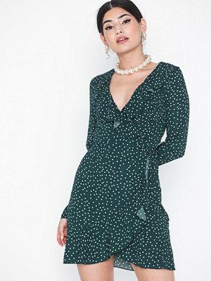 Parisian Polka Dot Wrap Frill Mini Dress