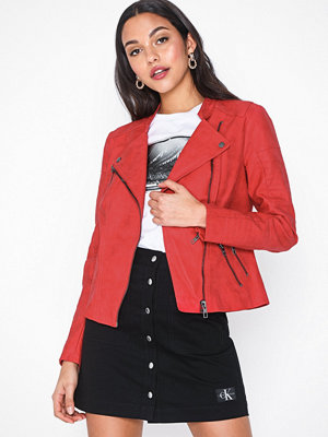 Only onlAVA Faux Leather Biker Otw Noos Röd