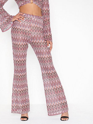 Missguided mönstrade byxor Print Flared Trousers