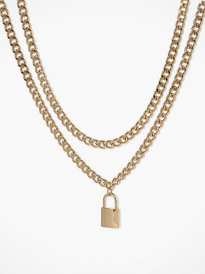 Freedom by Topshop halsband Padlock Multirow Necklace Gold