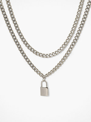 Freedom by Topshop halsband Padlock Multirow Necklace Silver