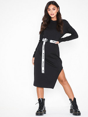 Missguided Side Split Midi Dress With Belt