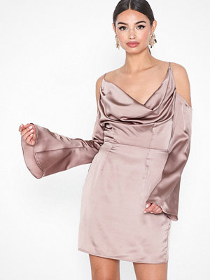 Missguided Satin Cold Shoulder Mini Dress
