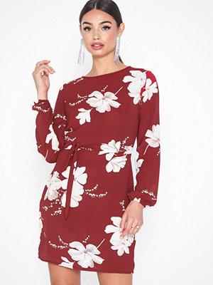 Parisian Floral Print Tie Waist Mini Dress