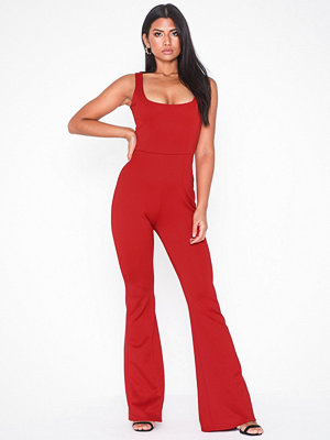 Missguided Square Neck Flare Jumpsuit