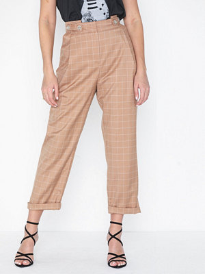 Topshop beige rutiga byxor Windowpane Check Mensy Trousers