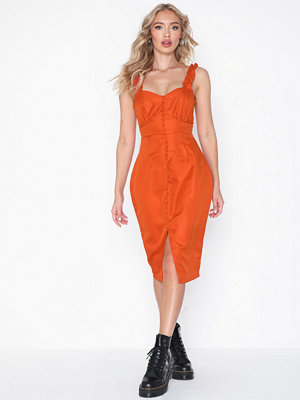 Missguided Button Frill Midi Dress