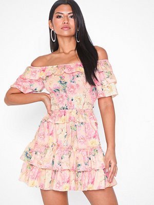 Parisian Floral Bardot Ruffle Mini Dress