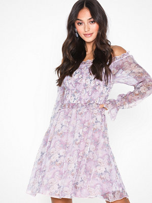 Missguided Floral Chiffon Bardot Dress