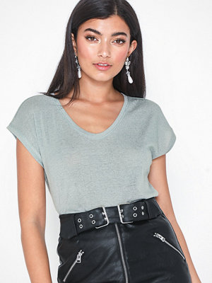 Only onlSILVERY S/S V Neck Lurex Top Jrs Offwhite