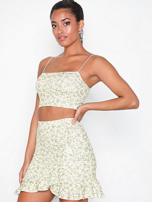 Kjolar - NLY One Frill Mini Print Skirt Gul