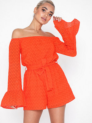 Missguided Broderie Flared Sleeve Playsuit