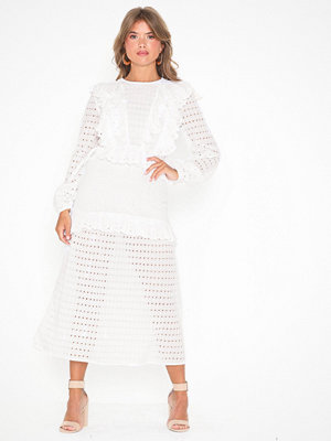 Topshop Ivory Broderie Frill Midi Dress