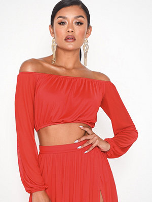 NLY One Mesh Off Shoulder Top Röd