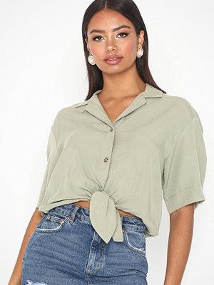 Topshop Short Sleeve Knot Front Shirt