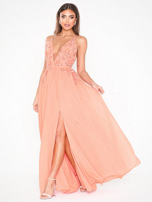 Dolly & Delicious Plunge Front Embellished Open back Dress